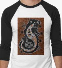 Kunst der Aborigines - Krokodil Baseballshirt für Männer