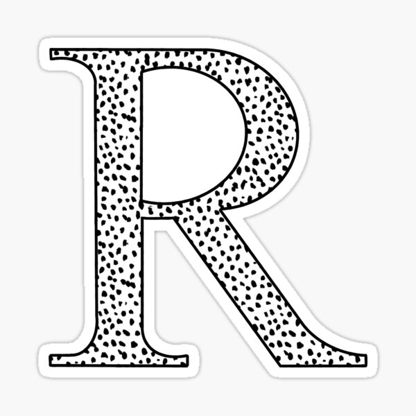 R Initial Dalmatian Print  Sticker