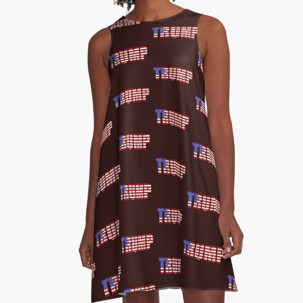 Donald Trump American Flag Patriotic Fourth of July USA A-Line Dress