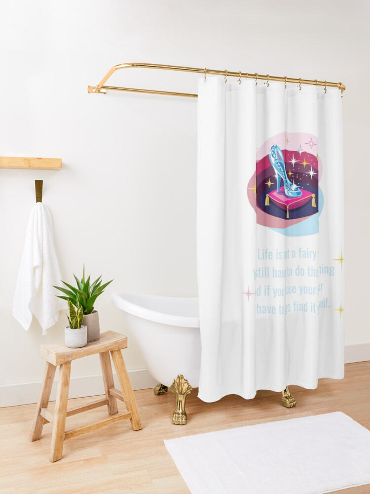 Alternate view of Glass Slipper, Busy Mom Reality Check Shower Curtain