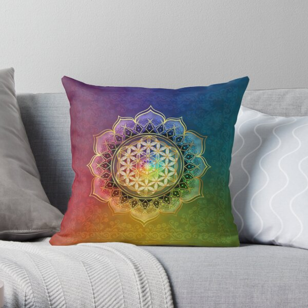 Rainbow Flower of Life with Lotus Throw Pillow