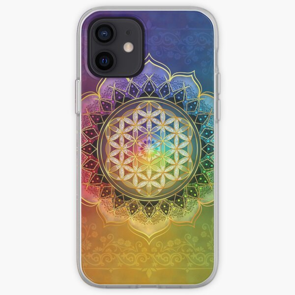 Rainbow Flower of Life with Lotus iPhone Soft Case