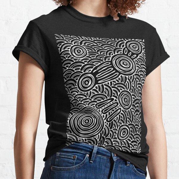 Authentic Aboriginal Art - Meeting Places B&W Classic T-Shirt