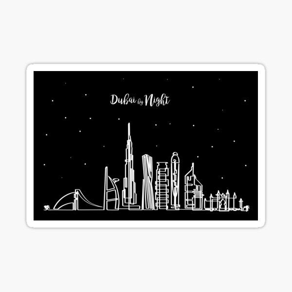 Dubai skyline at night Sticker