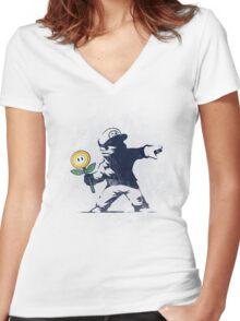 Banksy flower Women's Fitted V-Neck T-Shirt