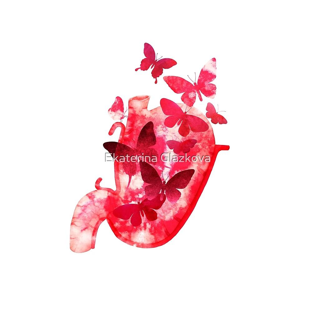 Watercolor butterflies in the stomach by Ekaterina Glazkova