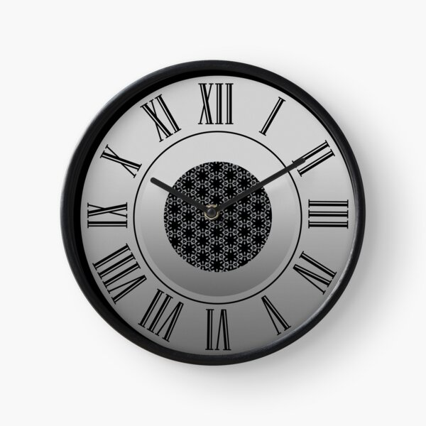 Elegant Black and Silver Pattern with Hexagonal Circles Clock