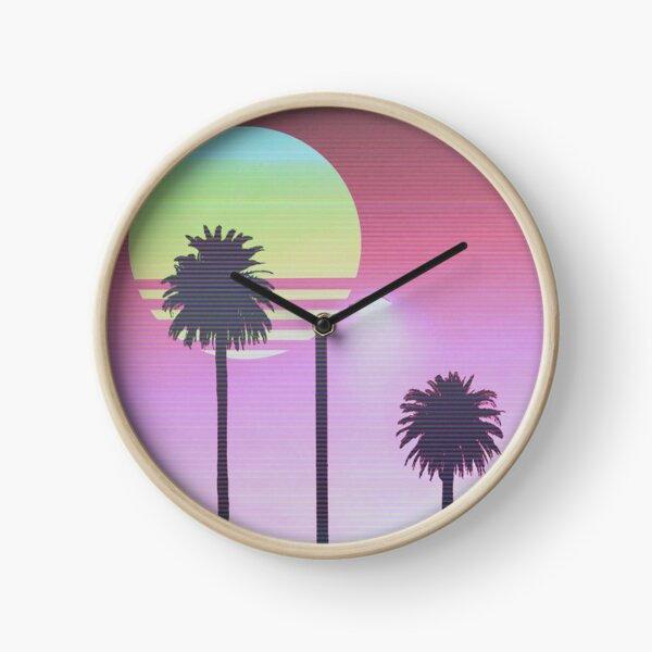 Sunset palm trees Clock