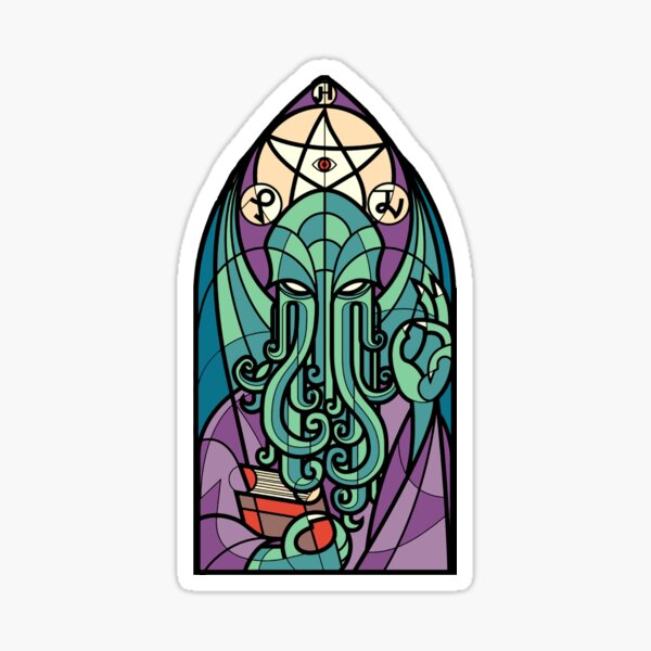 Cthulhu Church Stained Glass Cosmic Horror Sticker