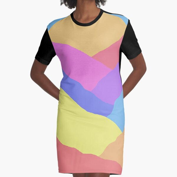 Colorful Mountains Abstract Art Graphic T-Shirt Dress