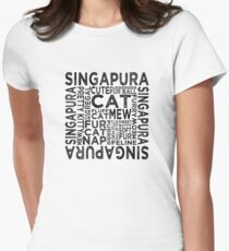Singapura Cat Typography Womens Fitted T-Shirt