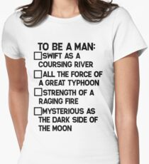 To Be A Man: Womens Fitted T-Shirt