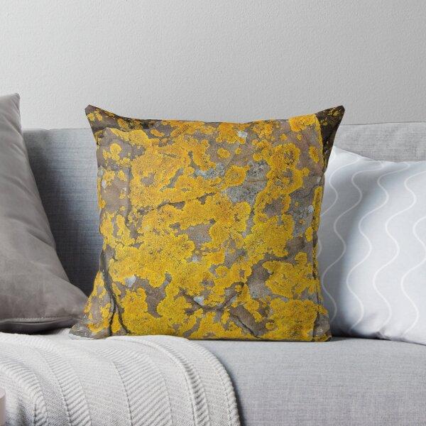 Mellow Yellow Lichen Dream Throw Pillow