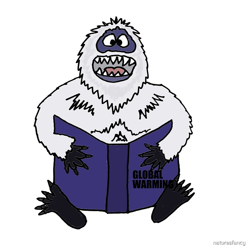 Funny Cool Abominable Snowman Reading Global Warming Book by naturesfancy