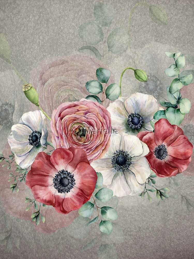 Watercolor Anemone Collection: Red and White by JMarielle