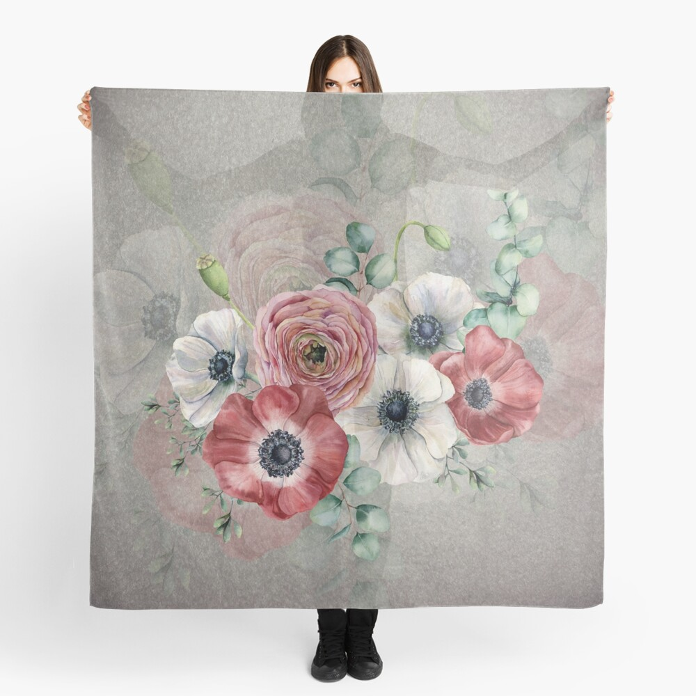 Watercolor Anemone Collection: Red and White Scarf