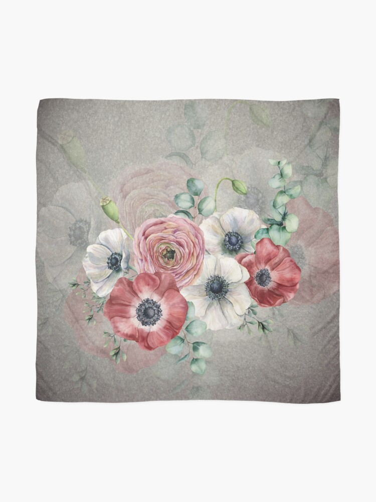 Alternate view of Watercolor Anemone Collection: Red and White Scarf