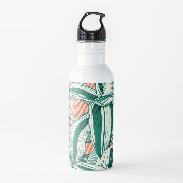 Sunset between leaves Water Bottle