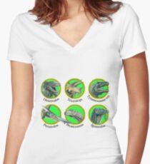 Prehistoric Animal Roundels Women's Fitted V-Neck T-Shirt