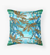 Dragonfly Flit Bubbles. Throw Pillow