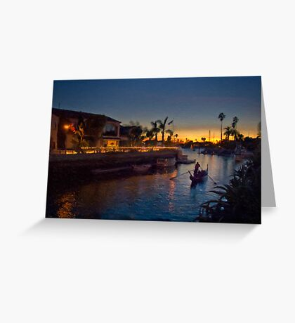 Naples gondola at sunset Greeting Card
