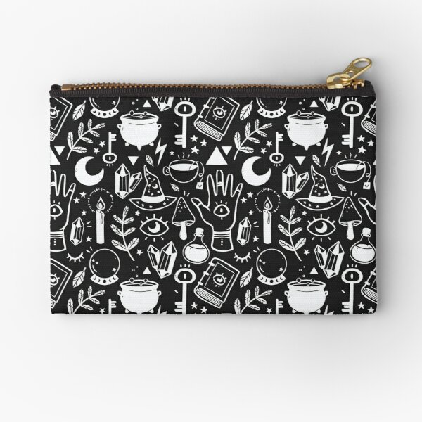 Witchy Things Black White Zipper Pouch