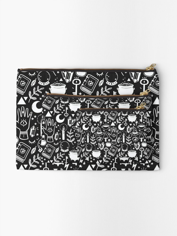 Alternate view of Witchy Things Black White Zipper Pouch