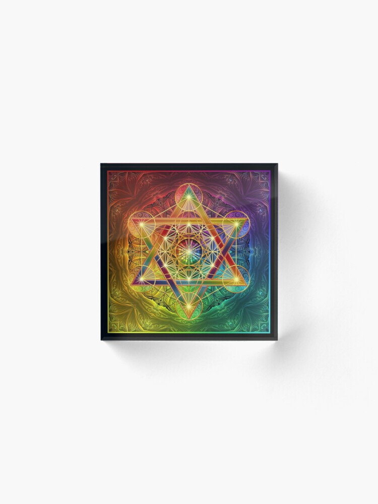 Alternate view of Metatron's Cube with Merkabah and Flower of Life Acrylic Block