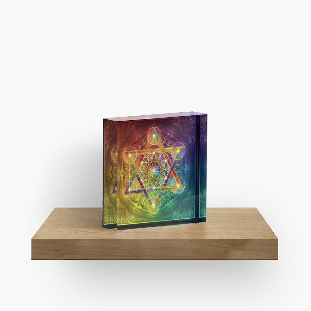 Metatron's Cube with Merkabah and Flower of Life Acrylic Block