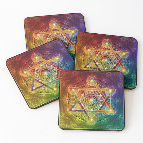 Metatron's Cube with Merkabah and Flower of Life Coasters (Set of 4)