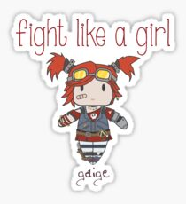 Fight Like a Girl   Robot Maker Sticker