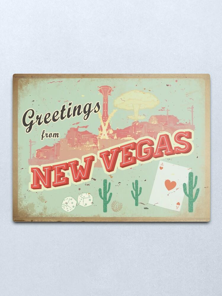 Alternate view of New Vegas Postcard Metal Print