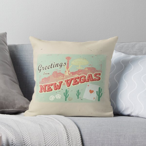 New Vegas Postcard Throw Pillow