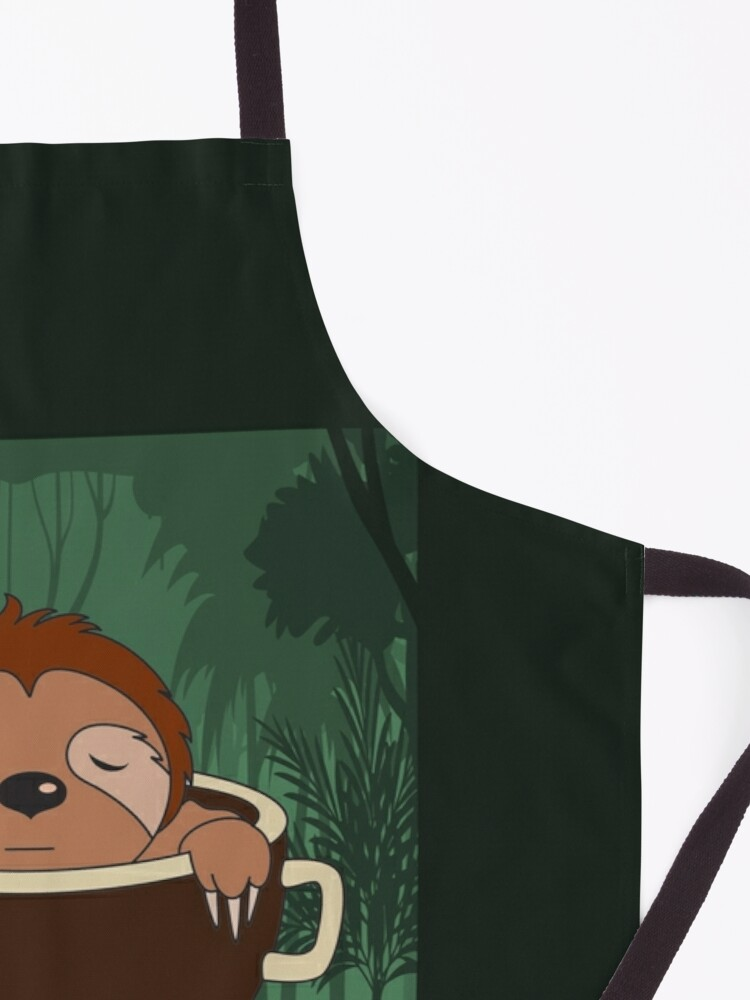 Alternate view of Sleepy Cute Sloth Coffee Tea Cup Tropical Rainforest  Apron
