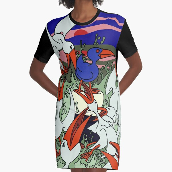Seagulls in a frenzy Graphic T-Shirt Dress