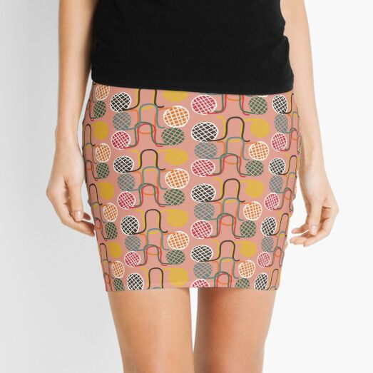 """Crochet Croquet"" Mid-Century Modern Pink Red Graphic Designer Print Mini Skirt"