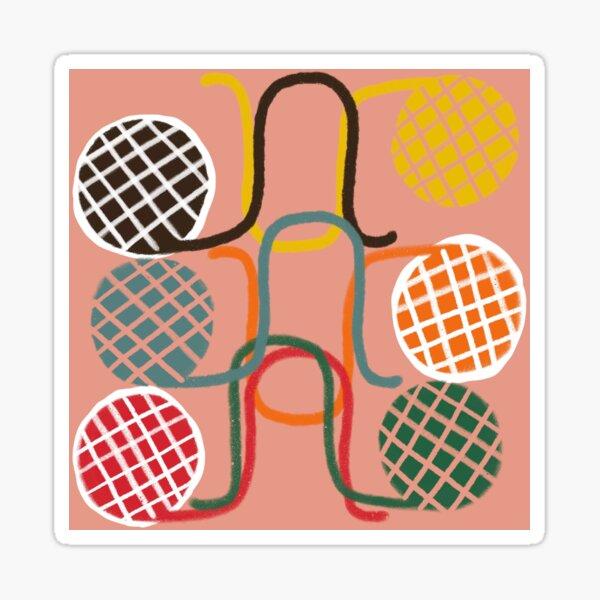 """""""Crochet Croquet"""" Mid-Century Modern Pink Red Graphic Designer Print Sticker"""