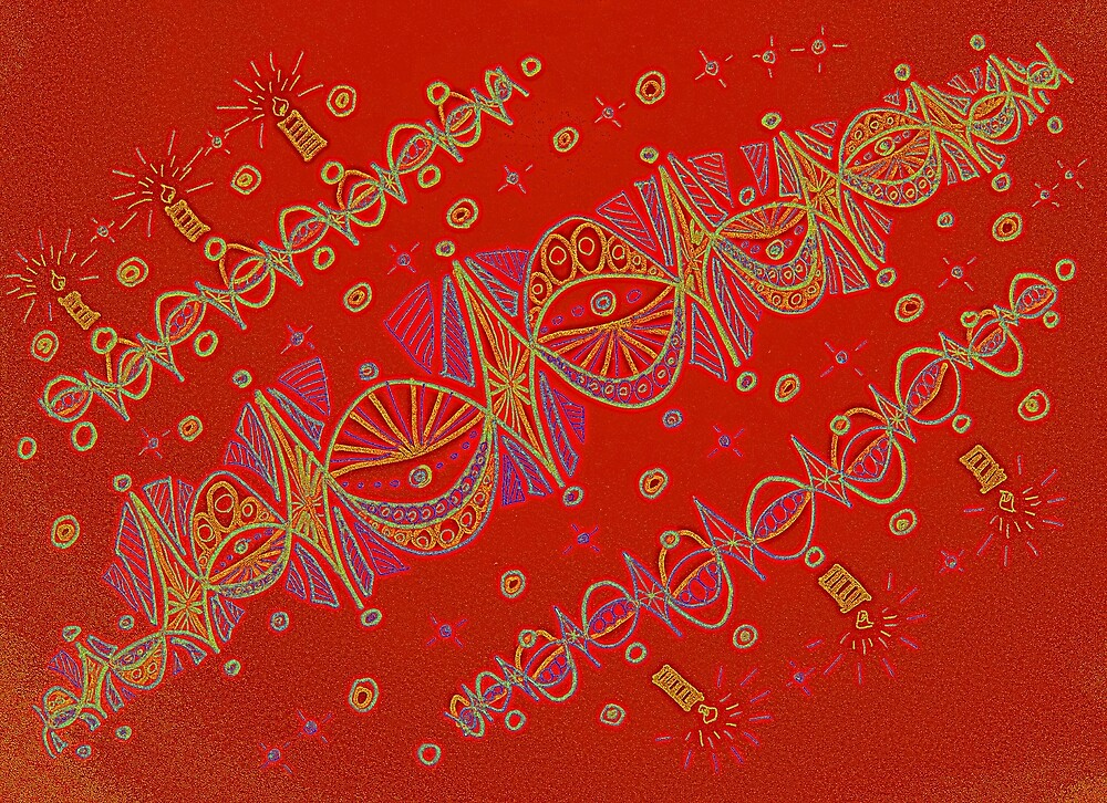 Red Christmas garlands by MagsArt