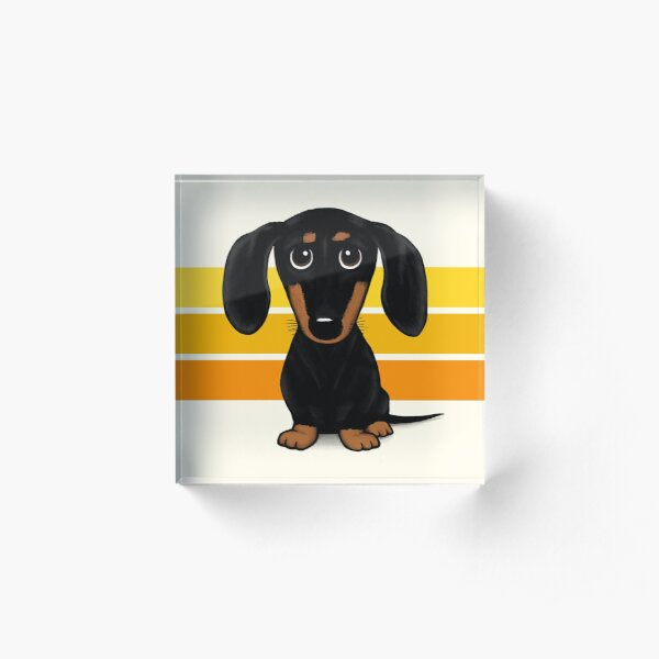 Cute Black and Tan Smooth Coated Dachshund Cartoon Dog Acrylic Block