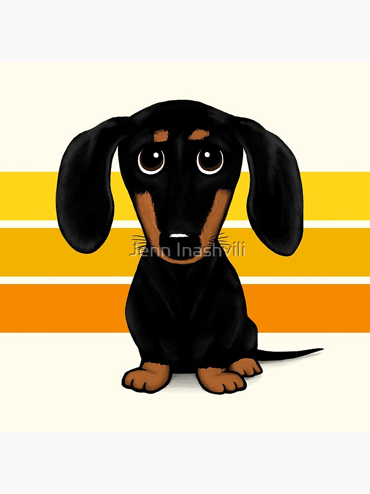 Cute Black and Tan Smooth Coated Dachshund Cartoon Dog by ShortCoffee