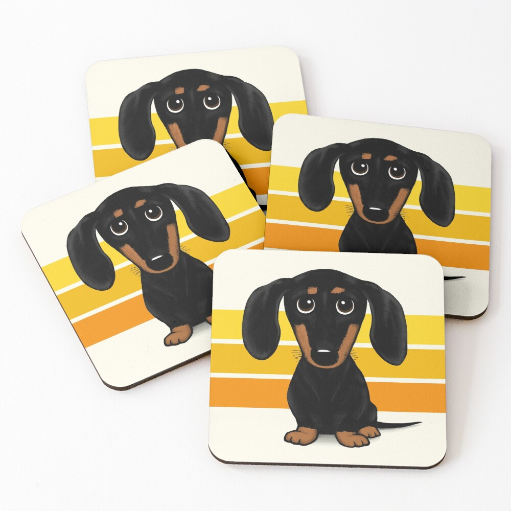 Cute Black and Tan Smooth Coated Dachshund Cartoon Dog Coasters (Set of 4)