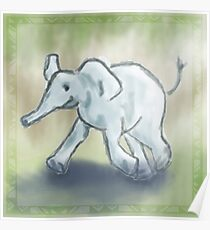 Cute Running Elephant Poster