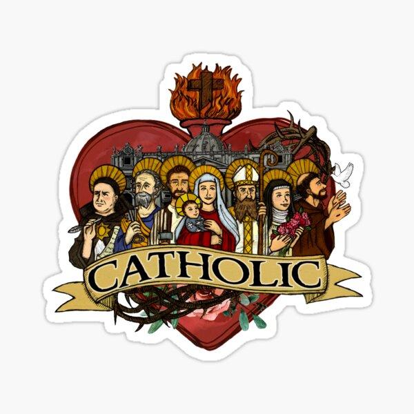 Sagrado corazón de los santos católicos Pegatina