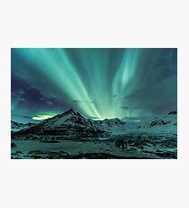 Aurora Borealis over glacier Photographic Print