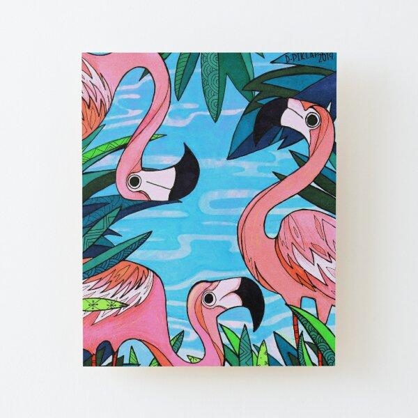 Miami (Flamingo Beach Party) Wood Mounted Print