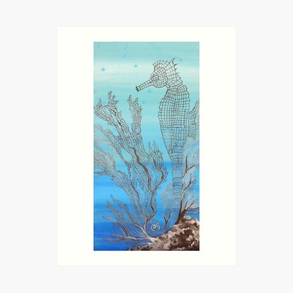Seahorse Sea Fan Coral Blue Underwater Moon Glow Design Art Print