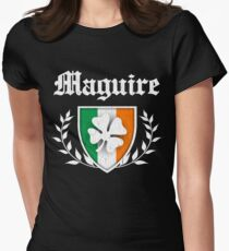 Maguire Family Shamrock Crest (vintage distressed) Women's Fitted T-Shirt