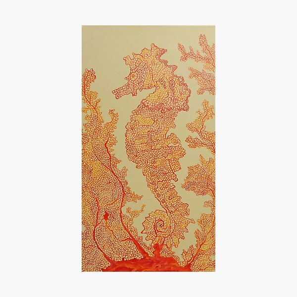 Seahorse in Orange Fan Coral Painting Design Photographic Print
