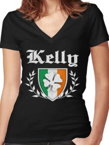 Kelly Family Shamrock Crest (vintage distressed) Women's Fitted V-Neck T-Shirt