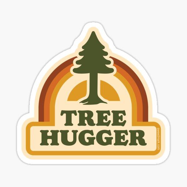 Retro Tree Hugger Sticker